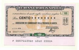 1976 - Italia - Banco Di Napoli - Associazione Dei Commercianti Della Provincia Di Caserta - [10] Scheck Und Mini-Scheck