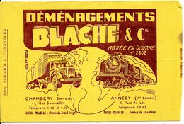 BUVARD BLOTTING PAPER DÉMÉNAGEMENTS BLACHE & CIE CHAMBERY ANNECY CAMION TRAIN - Transport