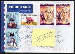 TCHAD Enveloppe Cover Oblitération Abéché 30 08 2016 Marilyn Monroe , Toumaï Et Chien - Tchad (1960-...)