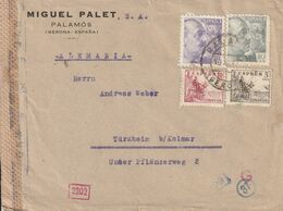 Espagne Lettre Censurée Pour La France 1943 - 1931-50 Briefe U. Dokumente