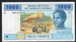 C.A.S. CHAD LETTER C P607Cc 1000 FRANCS 2002 Signature 11    XF   NO P.h. - Stati Centrafricani