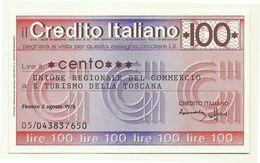 1976 - Italia - Credito Italiano - Unione Regionale Del Commercio E Turismo Della Toscana - [10] Scheck Und Mini-Scheck