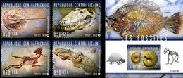 Centrafrica 2020, Fossils, 4val +BF - Fossils