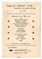MENU DU 26/05/1935 PUBLICITE BISCUIRS A LA CUILLER SAUTENET HOTEL JACOTOT LURE 21 - Menükarten