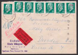 """Burg Stargard Eil-Brief Mit 10 Pfg. Walter Ulbricht DDR 846(7);in Dresden """"N"""" Nachträglich Entwertet, 7.5.63 - DDR"""