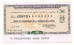 1976 - Italia - Banco Di Napoli - Unione Dei Commercianti Della Provincia Della Spezia - [10] Scheck Und Mini-Scheck