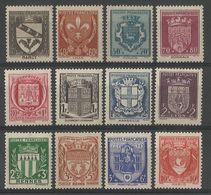 France - N° 526 à 537 * - Armoiries - Nancy, Lille, Rouen, Bordeaux, Toulouse, Clermont, Marseille, Lyon, Rennes, Reims, - France