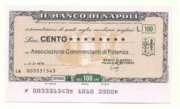 1976 - Italia - Banco Di Napoli - Associazione Commercianti Di Potenza - [10] Assegni E Miniassegni