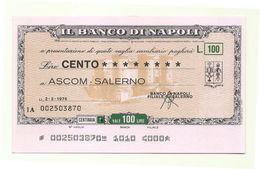 1976 - Italia - Banco Di Napoli - ASCOM - Salerno - [10] Scheck Und Mini-Scheck