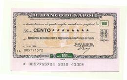 1976 - Italia - Banco Di Napoli - Associazione Dei Commercianti E Rappresentanti Della Provincia Di Taranto - [10] Scheck Und Mini-Scheck