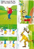 Golf Putting Green Club Driving Range 4x Comic Golfing Postcard S - Humor