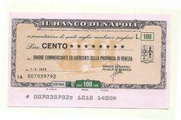 1976 - Italia - Banco Di Napoli - Unione Commercianti Ed Esercenti Della Provincia Di Venezia - [10] Scheck Und Mini-Scheck