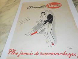 ANCIENNE  PUBLICITE CHAUSSETTE STEMM LAINES DU PINGOUIN 1953 - Vintage Clothes & Linen