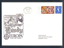 LUNDY - FDC 1961 Nice Illustrated Cover With Nice Combination Of Stamps Sent To London. - Europa-CEPT