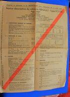RENAULT TYPE R 2130 VÉHICULE VOITURE AUTOMOBILE CAMIONNETTE NOTICE DESCRIPTIVE USINE RENAULT BILLANCOURT-CERTIFICAT CON - Voitures