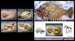 CENTRAL AFRICA 2020 - Fossils, 4v + S/S Official Issue [CA200316] - Fossils