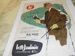 ANCIENNE PUBLICITE MAGASIN  BELLE JARDINIERE COSTUME 1958 - Vintage Clothes & Linen