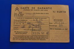 LA VERPILLERE 38 CITROËN VÉHICULE VOITURE AUTOMOBILE CARTE DE GARANTIE De 1966- 584 KM -IMMATRICULATION 5756 SC 38 - Voitures