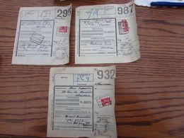 Chemin De Fer N° 203 (demi-timbre Pour Le COLIS DU SOLDAT) Sur 5 Documents Oblitérations Chemin De Fer De: WASMES....... - 1923-1941