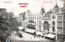 Pays Bas Amsterdam Rembrandtplein Place Rembrandt Tram Tramway + Timbre Cachet 1906 - Amsterdam