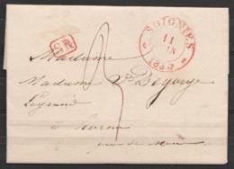 L. Datée 1838 Càd SOIGNIES /11 JUIN 1838 Pour HORNU - [SR] Port 3 (au Dos: Càd MONS /12 Juin 1838) - 1830-1849 (Unabhängiges Belgien)