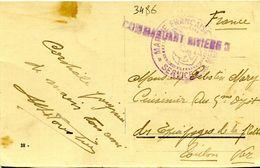 Carte Postale De Brindisi Avec Griffe Commandant Rivière - PAA 33 - Storia Postale
