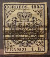 SPAIN 1854 - Canceled - Sc# 27a - 1R - Oblitérés