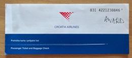 CROATIA AIRLINES AWARD TICKET 23NOV00 ZAGREB DUBROVNIK ZAGREB - Tickets