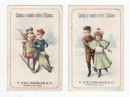 Chromo  SCHLUMBERGER  à Gebweiler    Lot De 2    Couples, Traineau, Patinage     10.7 X 7 Cm - Otros