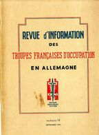 REVUE D INFORMATION DES TROUPES FRANCAISES D OCCUPATION EN ALLEMAGNE   1946    N° 12  -  64 PAGES  -  NOMBREUSES ILLUSTR - Revues & Journaux