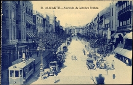 Cp Alicante Valencia Spanien, Avenida De Mendez Nunez, Tranvía - Sonstige