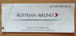 AUSTRIAN AIRLINES TICKET 12SEP99 VIENNA ANAPA - Tickets
