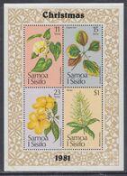 Samoa BF N° 26  XX Noël : Fleurs, Le Bloc Sans Charnière, TB - Samoa