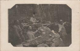 Carte-photo -  Militaires Avec Une Mitrailleuse Et Chargeur - Guerre 1914-18