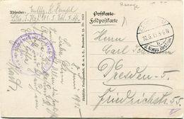 ALLEMAGNE CARTE DE FRANCHISE MILITAIRE -RASAGE AVEC CACHET K. D. FELDPOSTAMT 10-615 D. KORPS ZASTROW + CACHET VIOLET.... - WW1