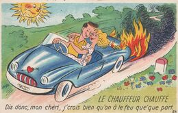 CPSM Grivoise Pin-up Sexy Allumeuse Moteur Feu Voiture Automobile Véhicule Humour Illustrateur Anonyme (2 Scans) - Hedendaags (vanaf 1950)