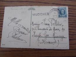 Carte Fantaisie Oblitérée Par L'AMBULANT TOURNAI-BRUXELLES 2 En 1929 + GRIFFE D'origine De VAUDIGNIES - Postmark Collection