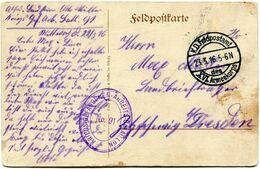 FRANCE CARTE DE FRANCHISE MILITAIRE -HARRICOURT 1916 AVEC CACHET K. D. FELDPOSTAMT 23-5-16 XVL ARMEEKORPS +... - WW1