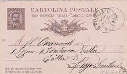 ITALIA - REGNO - GRAVINA (BARI) INTERO POSTALE  CON RISPOSTA PAGATA C. 15 - VIAGGIATO PER LUGO (RA) - Entiers Postaux