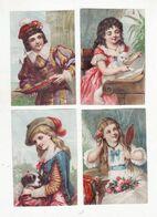 Chromo  Sans Pub    Lot De 4    Homme, Femmes, Chien, Chat, Piano, Bateau, Fleurs, Miroir     10.3 X 7.1 Cm - Andere