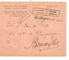 REF1491/ Lettre Mot Du Soldat Franchise C.Bilingue A DISTRIBUER SANS TAXE- PORTVRIJE UITREIKING C.Merxem 22/1/20 > BXL - Poststempel
