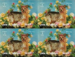 UMM-AL-QIWAIN  Chien Yorkshire Terrier HOLOGRAM 3D, 1 Bloc MNH Avec 4 Timbres - Hologrammes