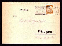 DR Postkarte Drucksache GIESSEN - 25.9.37 - Mi. 513 - Besucht Die Alte Universitätsstadt Gießen... - Deutschland
