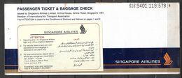 SINGAPORE PASSENGER AIR TICKET SINGAPORE AIR LINE - Tickets