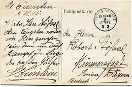 FRANCE / ALLEMAGNE CARTE DE FRANCHISE MILITAIRE -ST-QUENTIN  AVEC CACHET K. D. FELD. POSTEXPED.OB COMM II ARMEE 3 3 - WW1