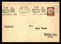 DR Postkarte Drucksache BREMEN - Anklam - 11.9.36 - Mi.513 - 75er Regimentsappell ...1936 - Deutschland