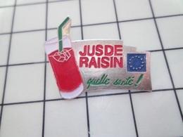 1420 Pin's Pins / Beau Et Rare / THEME : BOISSONS / JUS DE RAISIN QUELLE SANTE ! - Beverages
