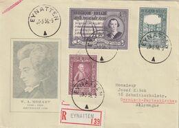 """Belgien / 1956 / Mi. 1036-1038 """"Mozart"""" Auf Reco-Brief Ex """"EYNATTEN"""" Nach Deutschland (CH35) - Belgium"""