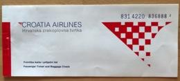 CROATIA AIRLINES TICKET 20MAR98 ZAGREB DUBROVNIK - Tickets