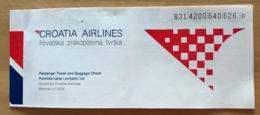 CROATIA AIRLINES TICKET 17AUG96 SPLIT FRANKFURT SPLIT - Tickets